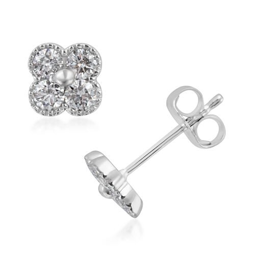 0.50 Carat Diamond Floral Stud Earrings in 14K White Gold 1.1 Grams IGI Certified
