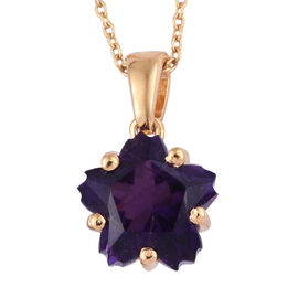 3.25 Ct Sterllaris Cut Amethyst Pendant with Chain in Gold Plated Sterling Silver
