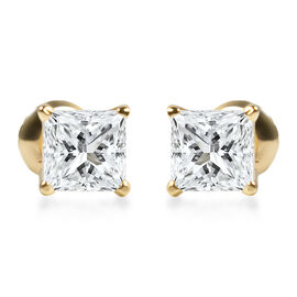 NY Close Out Deal- 14K Yellow Gold Diamond (Princess Cut) (I2/G-H) Earrings (with Screw Back) 2.00 C