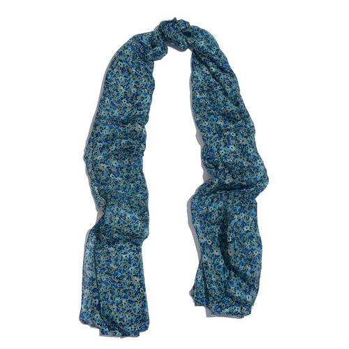 100% Mulberry Silk Floral Pattern Blue and Multi Colour Scarf (Size 175x100 Cm)