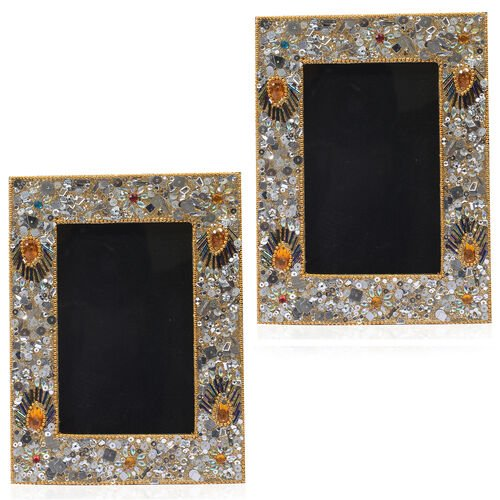 Home Decor - Handcrafted Golden and Multi Colour Beads Embellished Photo Frame (Size 4X6 inch)
