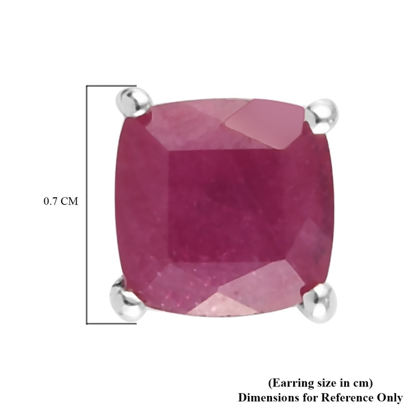 African Ruby (FF) Stud Earrings (with Push Back) in Platinum Overlay Sterling Silver 3.350 Ct.