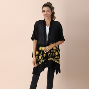 JOVIE Chiffon Floral Embroidery kimono - Black & Yellow