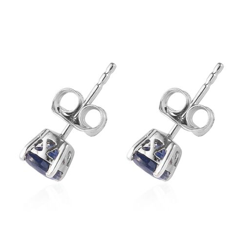 Blue Sapphire Stud Earrings (with Push Back) in Platinum Overlay Sterling Silver 1.50 Ct.