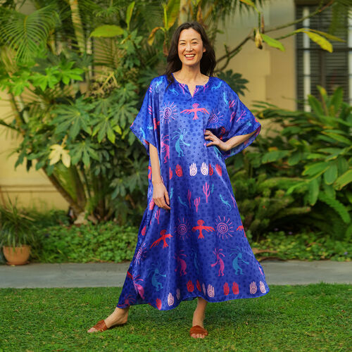 Winlar Blue and Multi Colour Tribal Pattern Long Kaftan (One Size)