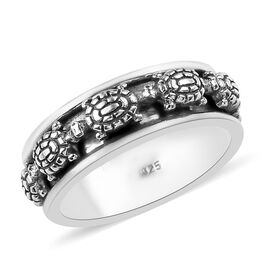 Artisan Crafted Sterling Silver Turtle Band Ring, Silver wt 5.50 Gms