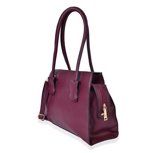 Gabriela Burgundy Colour Golden T-Bar Tote Bag with Adjustable Shoulder Strap (Size 36X35X26X10 Cm)