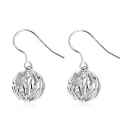 Rhodium Overlay Sterling Silver Bead Ball Hook Earrings