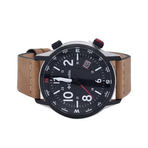 Columbia Canyon Ridge Black 3-Hand Date Camel Leather Watch