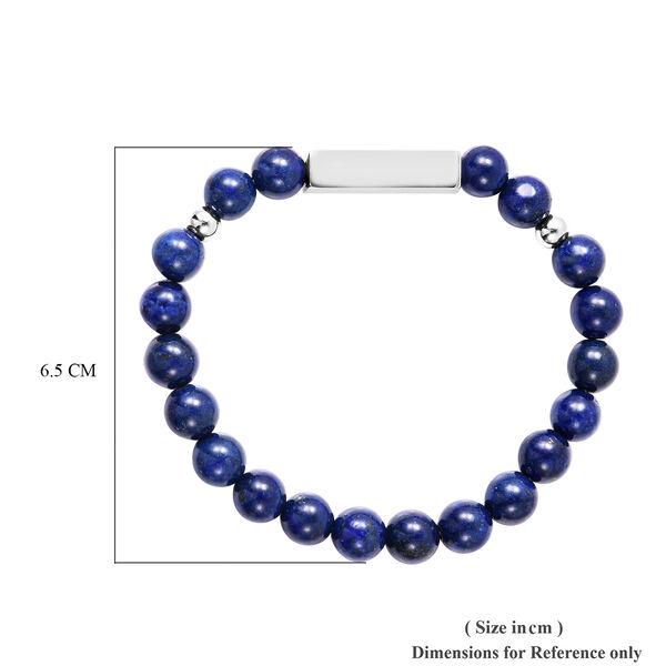 Engravable Bar Lapis Beads Bracelet Size 7-7.5Inch