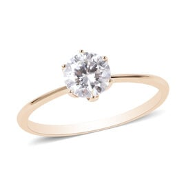 TJC Launch 9K Yellow Gold Moissanite Solitaire Ring 1.00 Ct.
