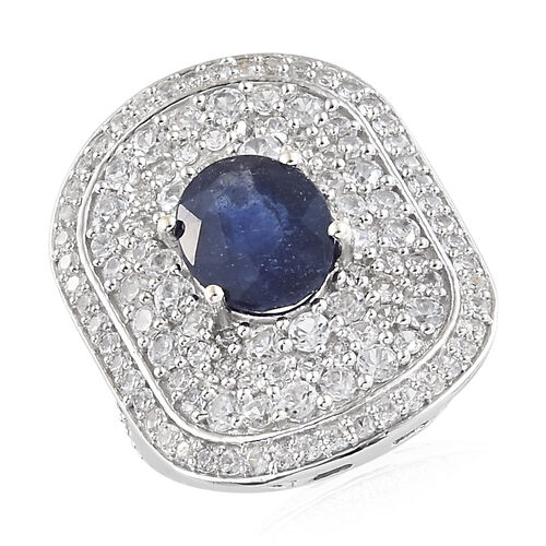 Cocktail Collection-Masoala Sapphire (Ovl 4.00 Ct), Natural Cambodian Zircon Ring in Platinum Overla
