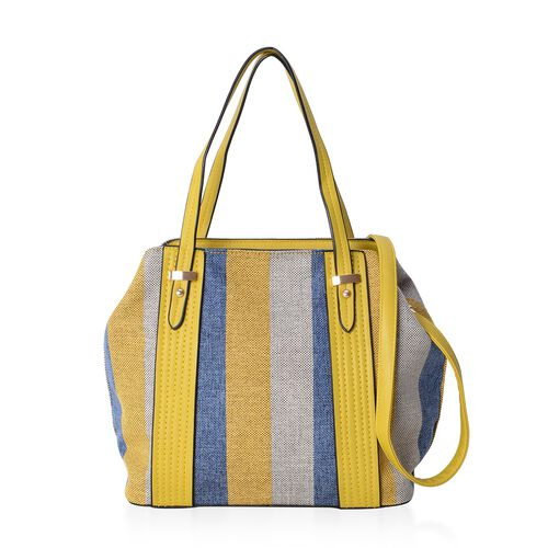Yellow Blue Stripe Large Tote Bag with Adjustable Shoulder Strap (Size 43x32x28.5x15.5 Cm)