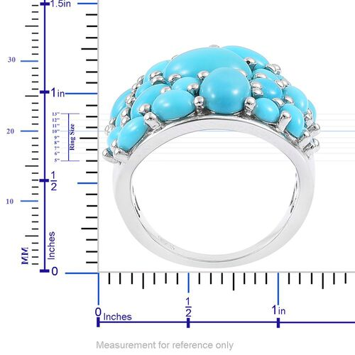 Arizona Sleeping Beauty Turquoise Cluster Ring in Platinum Overlay Sterling Silver 5.00 Ct.