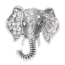 White Austrian Crystal and Simulated Black Spinel Elephant Head Brooch in Silver Tone