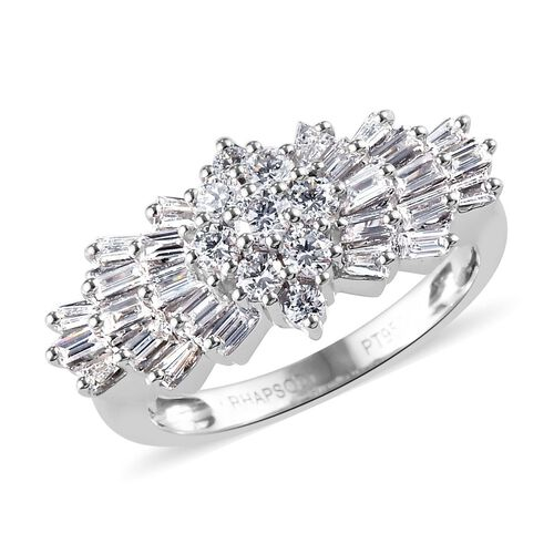 RHAPSODY 1 Carat Diamond Ballerina Ring in 950 Platinum 7 Grams IGI Certified