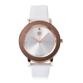 STRADA Japanese Movement Water Resistance Watch in Rose Tone with White Strap