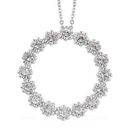 J Francis White Crystal from Swarovski Flower Circle Pendant with Chain in Platinum Plated 20 Inch