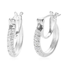 Vicenza Collection- Diamond (Rnd) Full Hoop Earrings (with Clasp Lock) in Sterling Silver