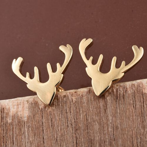 14K Gold Overlay Sterling Silver Deer Horns Earrings (with Push Back), Silver wt. 1.75 Gms.