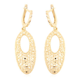 JCK Vegas Diamond Cut Drop Earrings in 9K Gold 3.27 grams