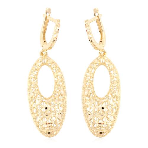 JCK Vegas Diamond Cut Drop Earrings in 9K Gold 3.27 grams