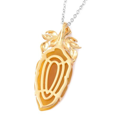 Carved Yellow Jade and Natural White Cambodian Zircon Pendant with Chain (Size 18) in Rhodium and Yellow Gold Overlay Sterling Silver 14.10 Ct.