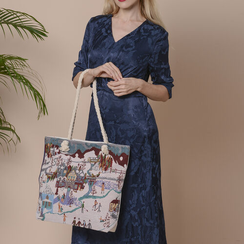 Christmas Collection House and Snow Scenery Print Jute Tote Bag (Size 42x34x9x37cm) - White