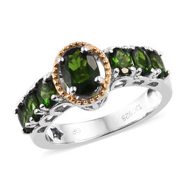 GP Russian Diopside (Ovl), Blue Sapphire Ring in Platinum and Yellow Gold Overlay Sterling Silver 2.