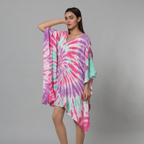 New Arrival-Tie & Dye Kaftan in Purple and Multi Colour (Size upto 18)