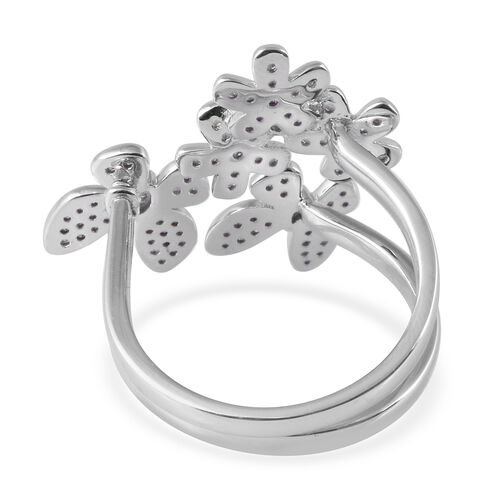 Diamond (Rnd) Adjustable Two Finger Ring in Platinum Overlay Sterling Silver 0.501 Ct.