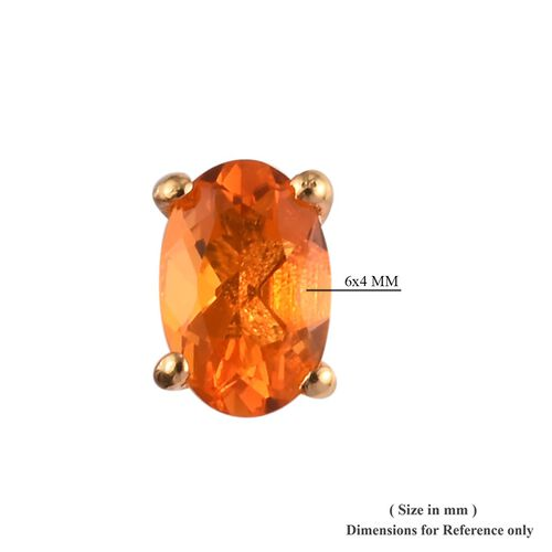AA Jalisco Fire Opal Stud Earrings (with Push Back) in 14K Gold Overlay Sterling Silver 0.75 Ct.