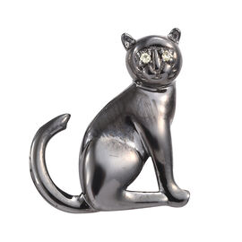 Yellow Sapphire (Rnd) Halloween Cat Pendant in Platinum Overlay and Black Plating Sterling Silver 0.015 Ct.