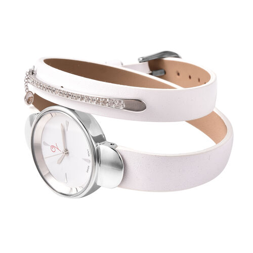 LUCYQ Swiss Movement White Dial 3ATM Water Resistant Watch with 3 Row White Leather Strap and Natural Cambodian Zircon Studded Sterling Silver Charm in a Gift Box