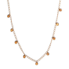 Orange Sapphire Station Necklace (Size - 18) in Platinum Overlay Sterling Silver 3.80 Ct, Silver wt.