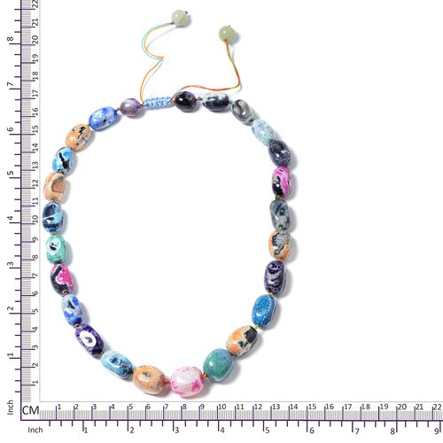 Multi Agate Adjustable Beads Necklace (Size 18 - 32) 500.000 Ct.