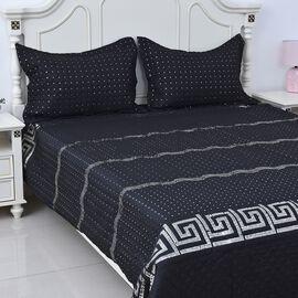 3 Piece Set - Microfibre Quilt (Size 230x260 Cm) and 2 Pillow Case (Size 70x50 Cm) with Sequins Work