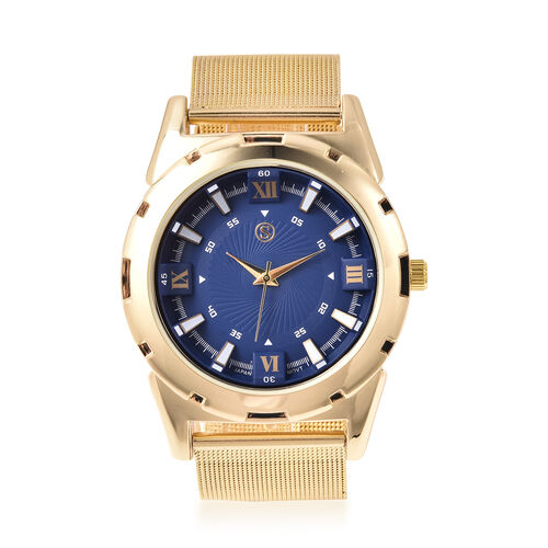 STRADA Japanese Movement Navy Blue Dial Water Resistant Watch with Yellow Gold Tone Mesh Style Strap