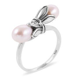 Royal Bali Collection Fresh Water White Pearl Flower Bud Crossover Ring in Sterling Silver