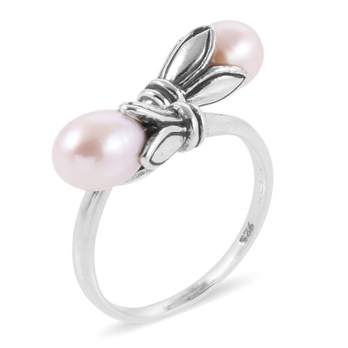 Royal Bali Collection Freshwater White Pearl Crossover Ring in Sterling Silver