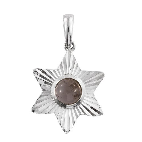 Rose Quartz (Rnd) Solitaire Pendant in Sterling Silver 1.560 Ct.