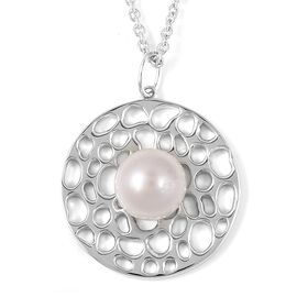 RACHEL GALLEY White South Sea Pearl (Rnd 12 mm) Lattice Pendant with Chain (Size 20) in Rhodium Over