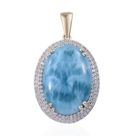 Super Auction- 9K Yellow Gold AAA Larimar (Ovl 25x18 mm), Natural Cambodian Zircon  Pendant 31.000 Ct, Gold wt 5.5 Gms