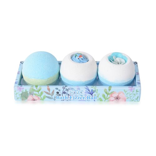 3 Piece Set - Ocean Scent Bath Bomb Blue and Green with Soap Flower Blue and White (Size 18.6x7.3x7.2 Cm)