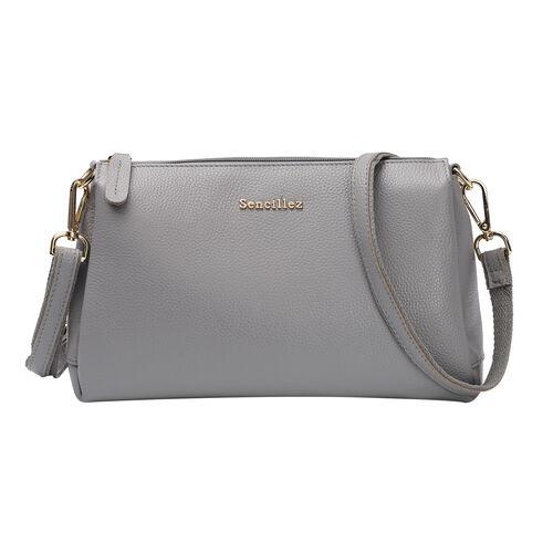 SENCILLEZ 100% Genuine Leather Crossbody Bag with Zipper Closure and Detachable Shoulder Strap (Size