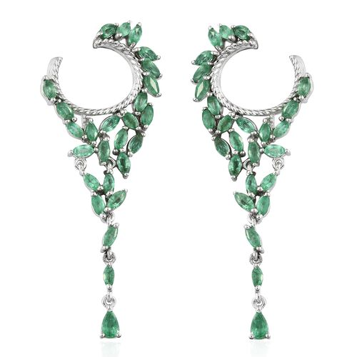 4.50 Ct Kagem Zambian Emerald Chandelier Earrings in Platinum Plated Silver 7.57 gms (with Push Back)