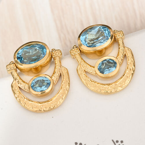 AA Electric Blue Topaz Earrings (with Push Back) in 14K Gold Overlay Sterling Silver 4.25 Ct, Silver wt 6.00 Gms