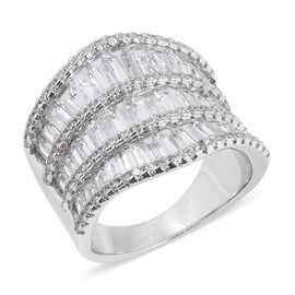 Simulated Diamond Band Ring in Silver Tone