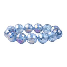 Simulated Blue AB Crystal Beaded Stretchable Bracelet 6 Inch