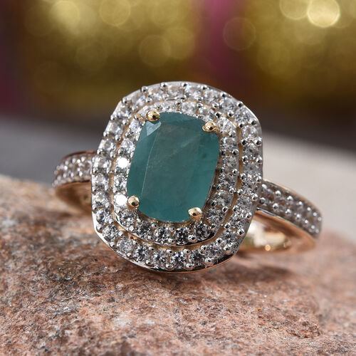 GP-  9K Yellow Gold AA Grandidierite (Cush), Natural Cambodian Zircon and Blue Sapphire Ring  2.15 Ct.